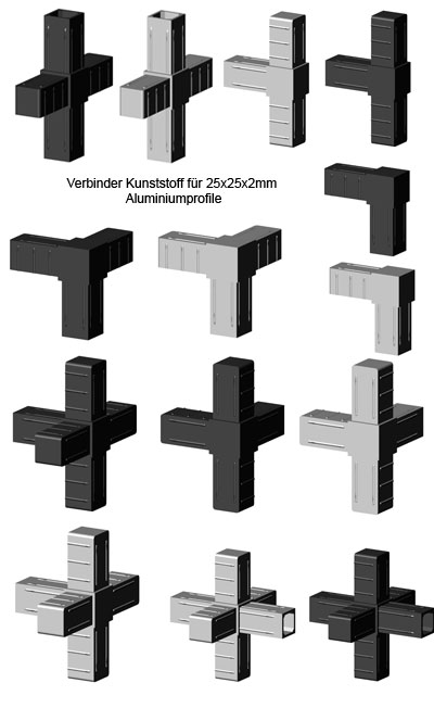 Verbinder für Aluminiumprofil 25 x 25 x 2mm