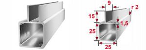 25mm Aluminiumprofil mit Nut 9mm